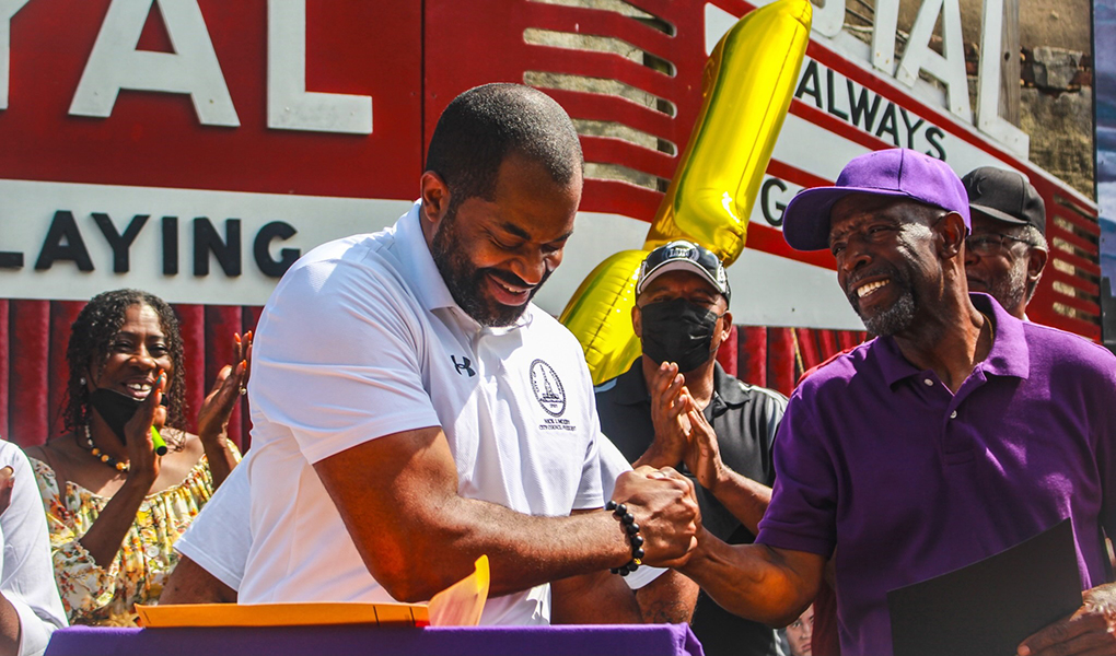 """Council President Nick J. Mosby celebrating the 10th anniversary of the Avenue Bakery with owner James """"Jim"""" Hamlin."""