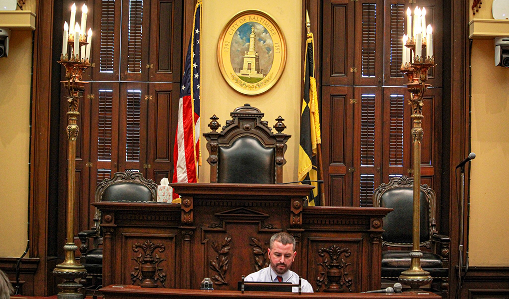 Councilman Eric T. Costello of District 11 chairs a committee hearing in Council Chambers.