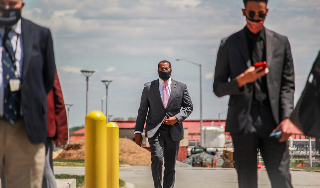 Council President Nick J. Mosby arrives for a news conference.